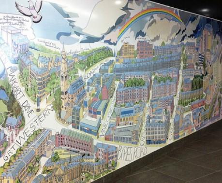 Glasgow hillhead mural commission for Alasdair gray hillhead mural
