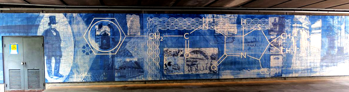 Tile mural enhances cycleway under the westway flyover in for Crossing the shallows tile mural